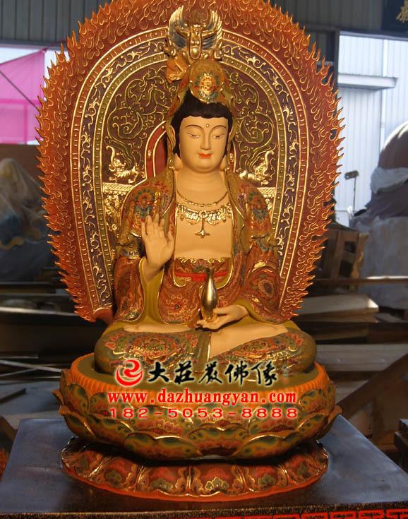 观世音菩萨铜雕彩绘佛像右侧照