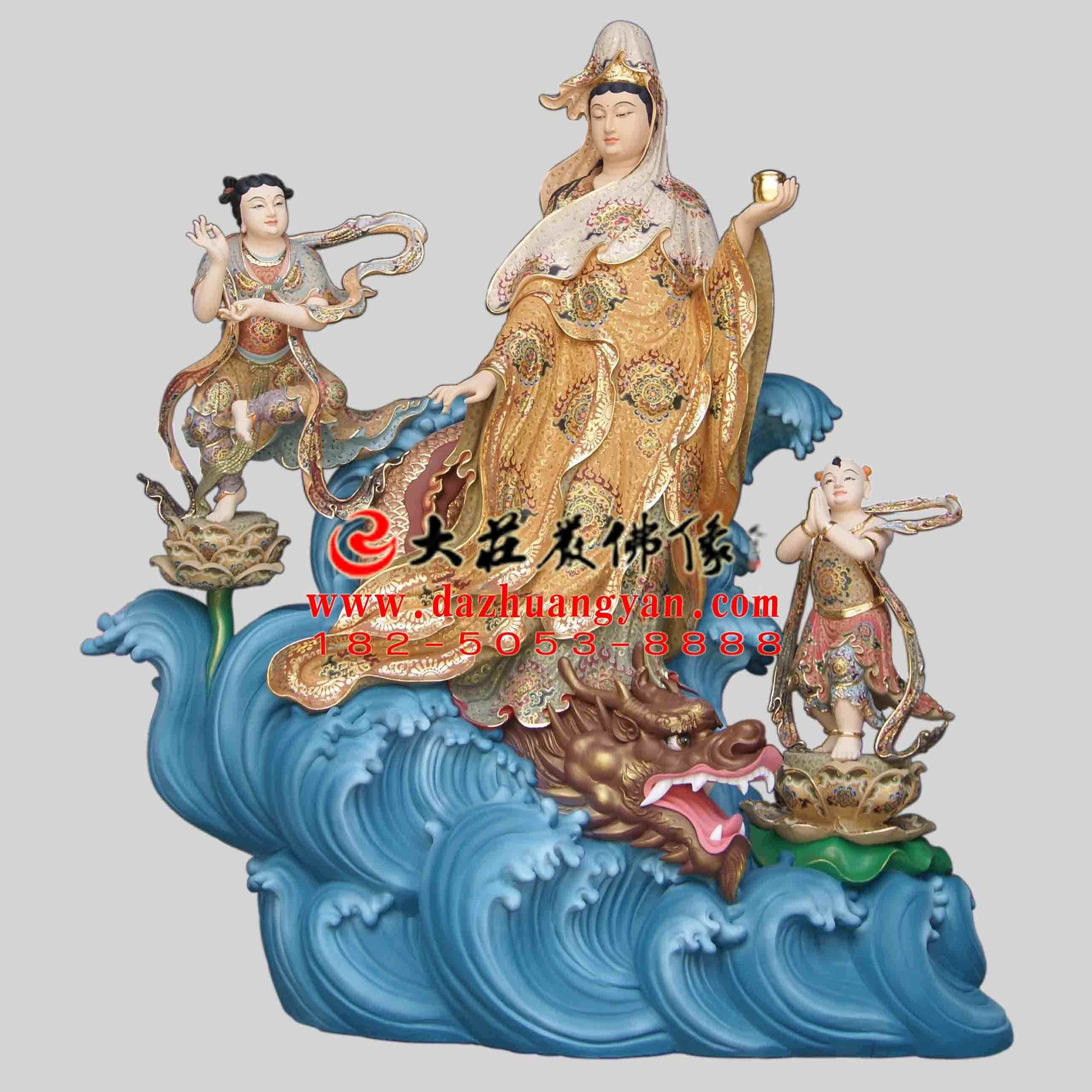 海岛观音生漆脱胎彩绘佛像