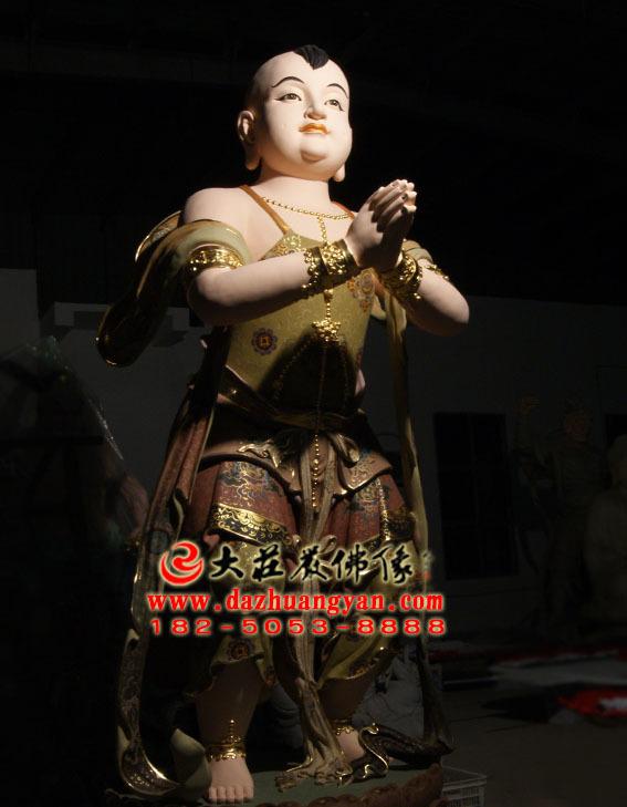 铜雕彩绘描金生漆脱胎观音右协持善财童子塑像侧面照