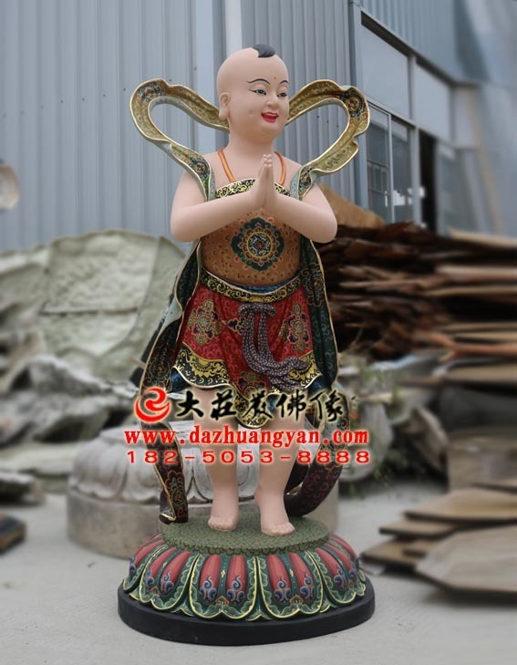 生漆脱胎善财童子塑像侧面照