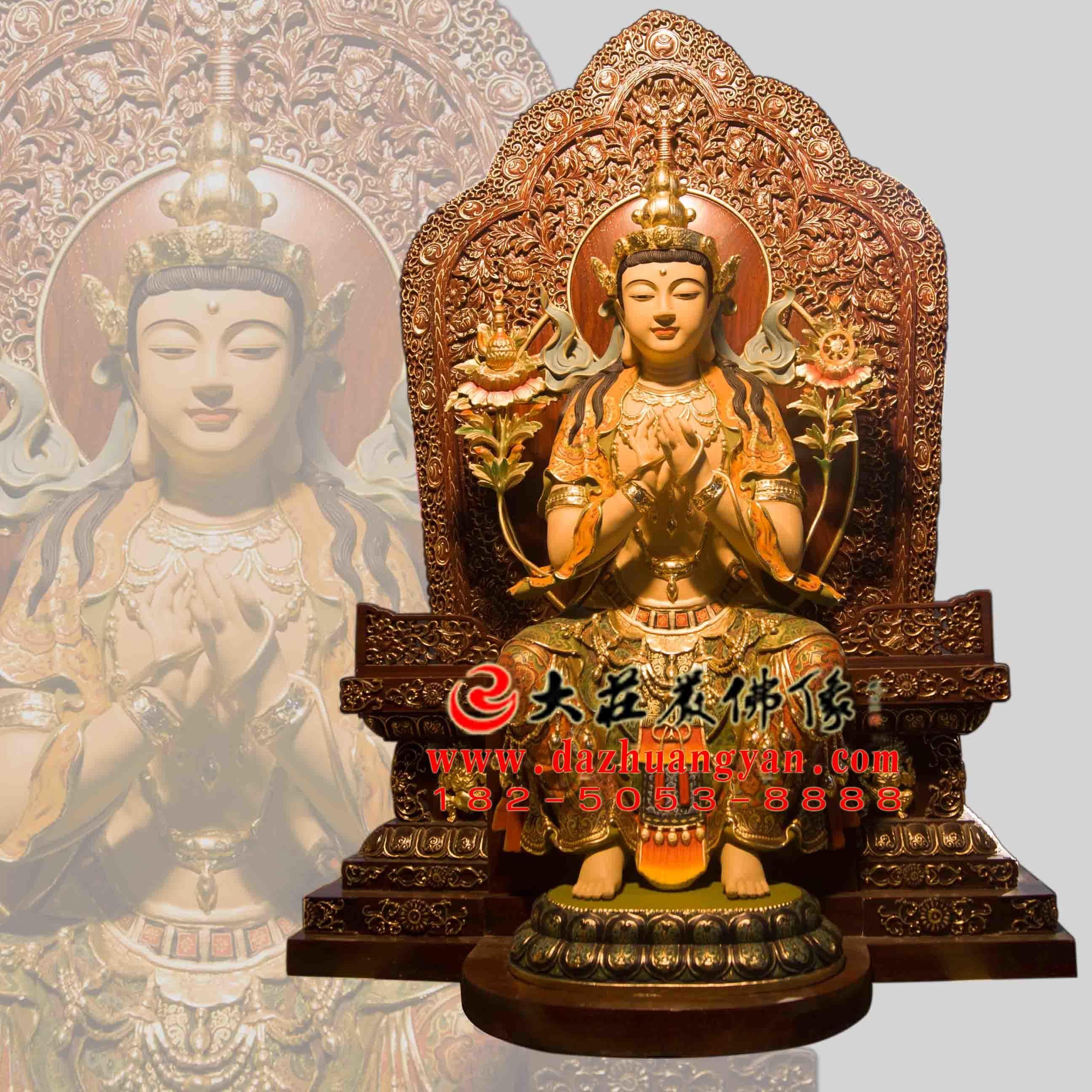 天宫弥勒铜雕彩绘佛像