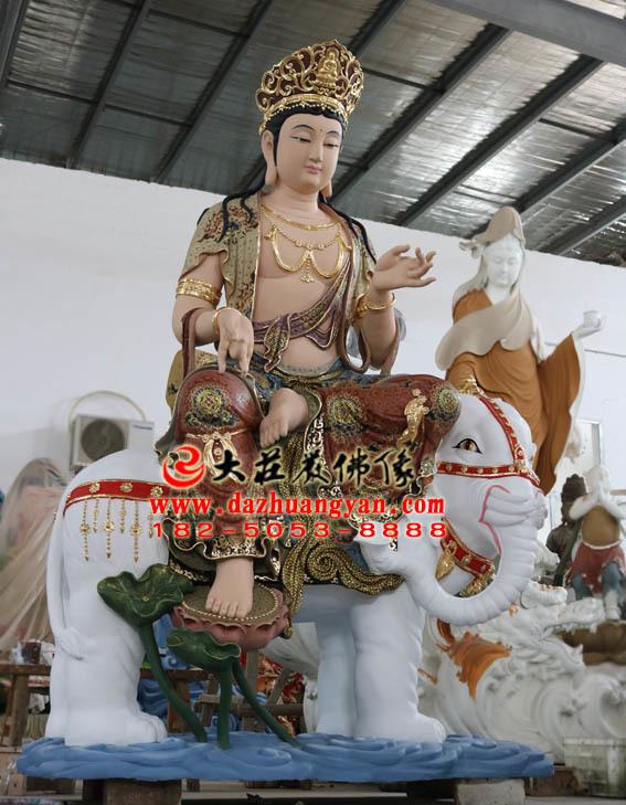 彩绘描金生漆脱胎华严三圣之普贤菩萨塑像侧面照