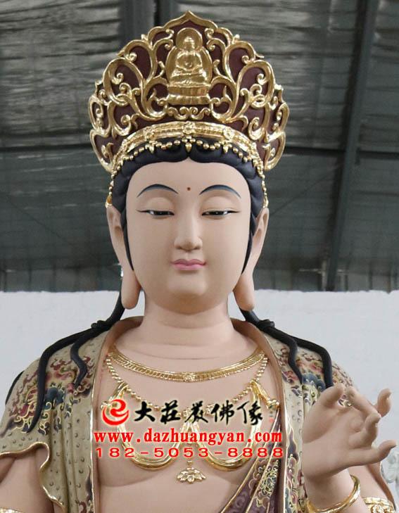 彩绘描金生漆脱胎华严三圣之普贤菩萨塑像特写