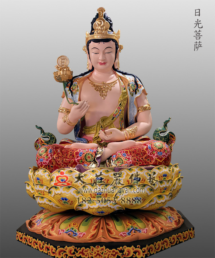铜雕彩绘日光菩萨像