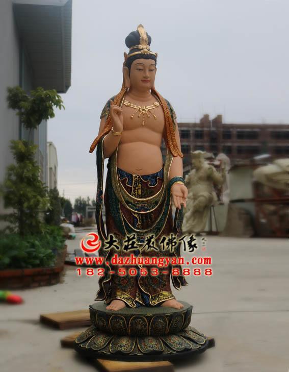 彩绘描金生漆脱胎药师佛右胁侍月光菩萨塑像侧面照