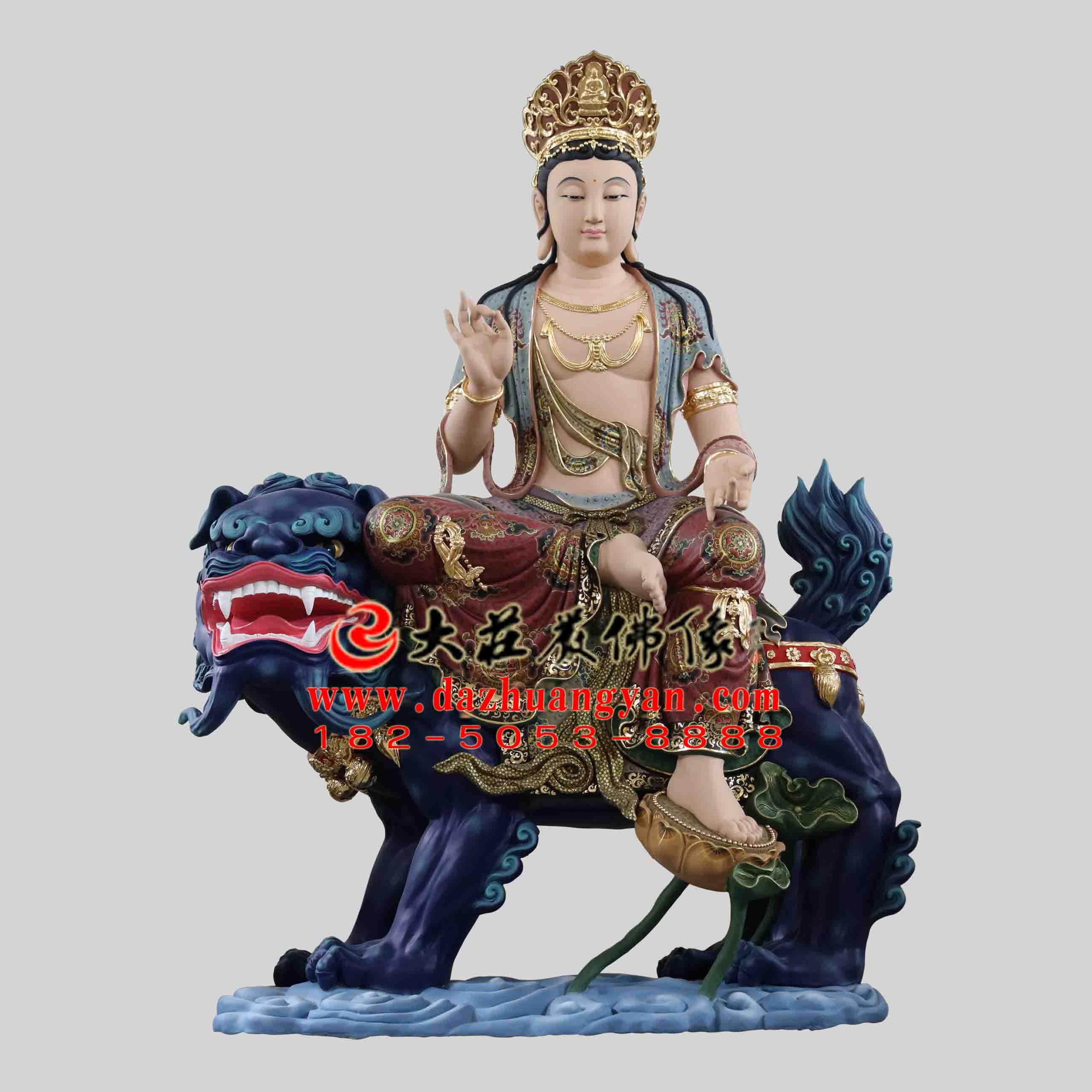 彩绘描金生漆脱胎华严三圣之文殊菩萨塑像