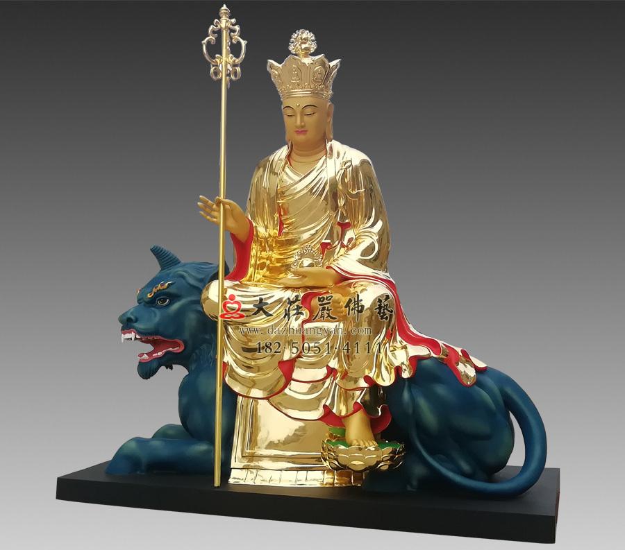 铜雕贴金地藏菩萨侧面佛像