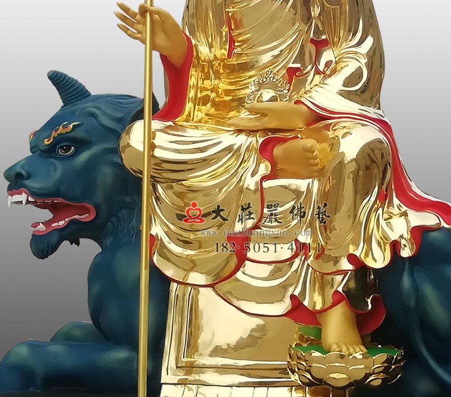 彩绘青狮头塑像