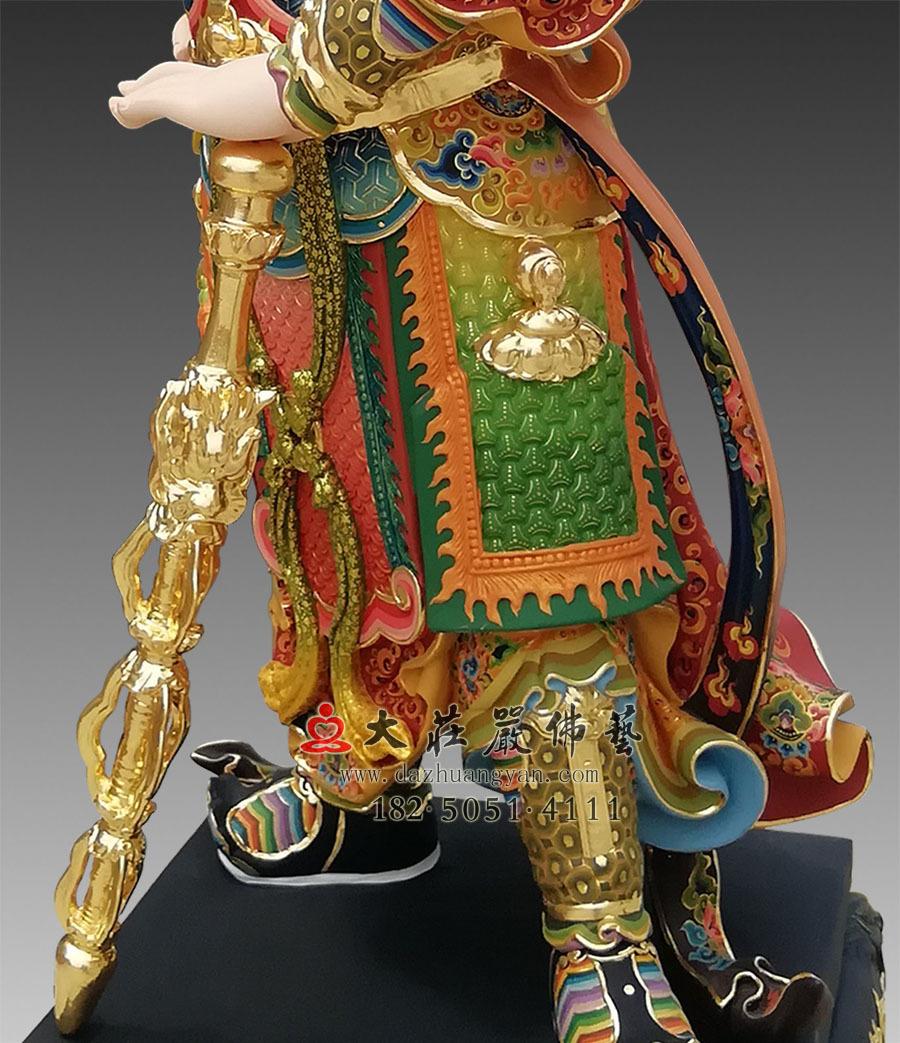 彩绘韦驮菩萨局部塑像