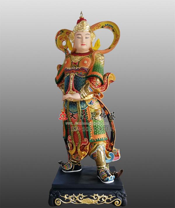 铜雕韦驮菩萨彩绘塑像