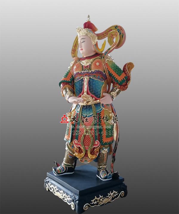 韦驮菩萨彩绘描金塑像
