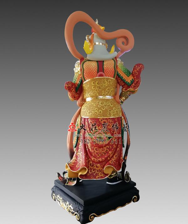 彩绘描金韦驮菩萨背部塑像