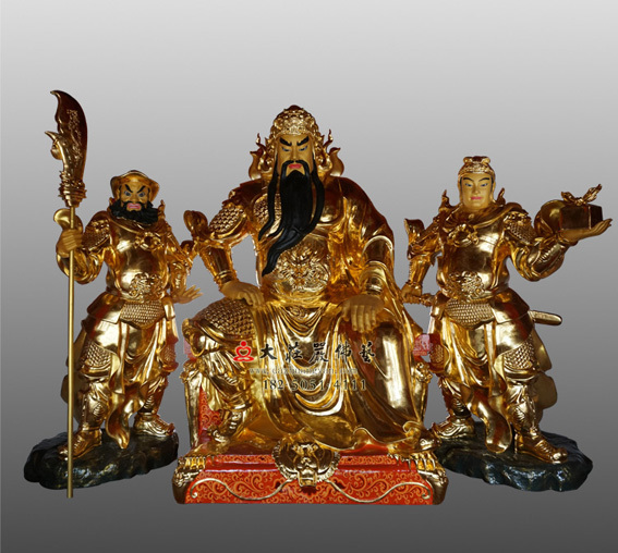 铜雕贴金关公神像