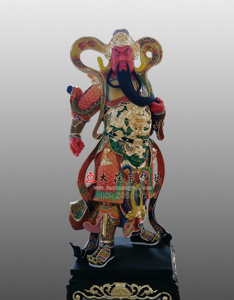 铜雕关公彩绘塑像