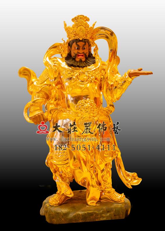 铜雕四大天王之西方广目天王贴金佛像