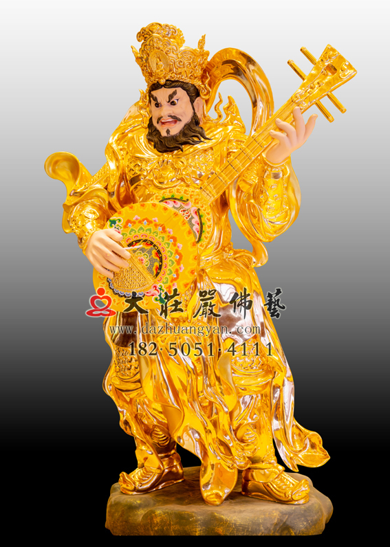 铜雕四大天王之东方持国天王贴金佛像