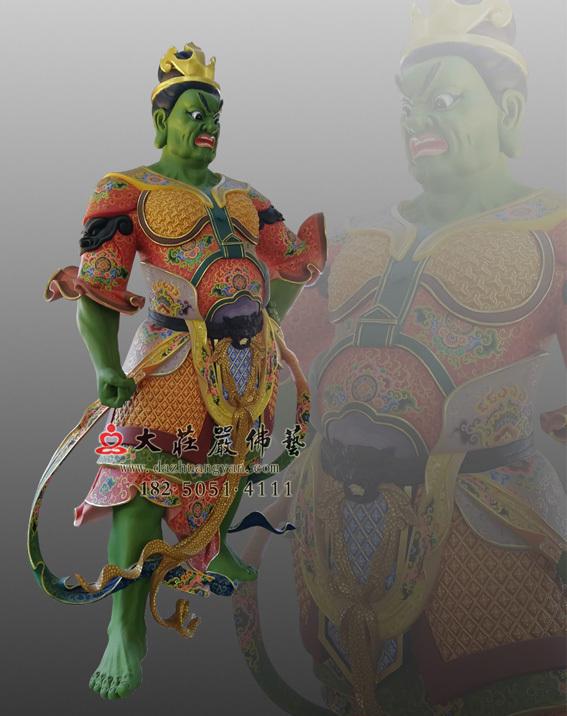 铜雕四大天王之八大眷属侧面彩绘塑像