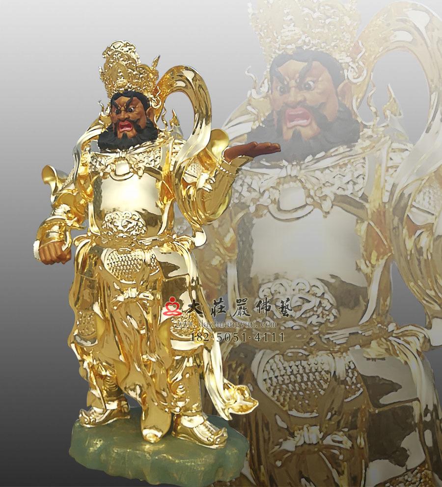 铜雕贴金四大天王之侧面广目天王