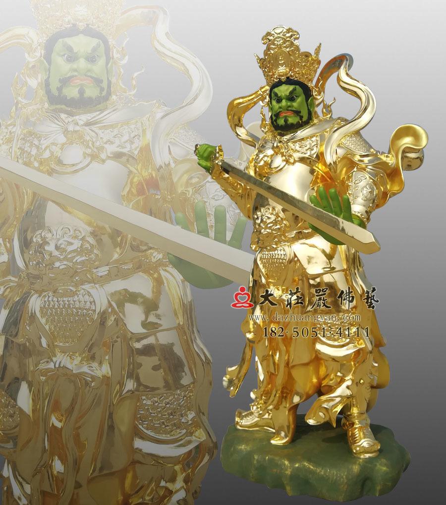 铜雕贴金四大天王之侧面南方增长天王