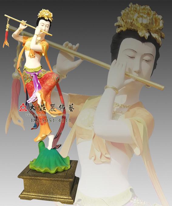 铜雕笛子伎乐天侧面塑像
