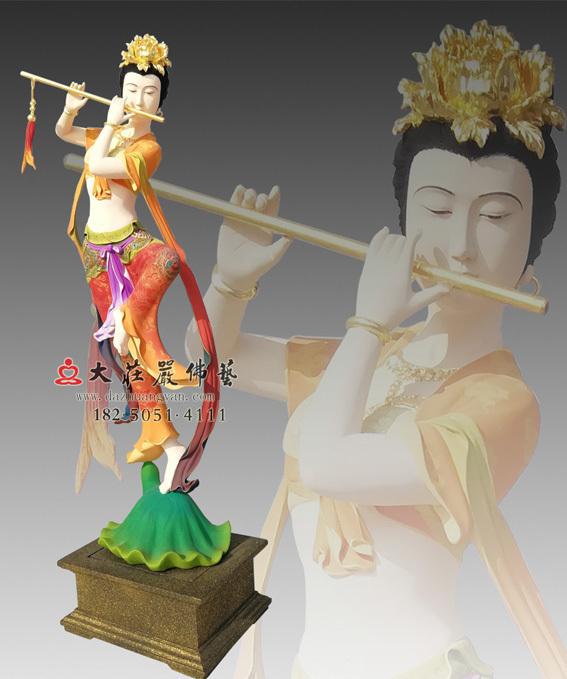 铜雕笛子伎乐天彩绘像