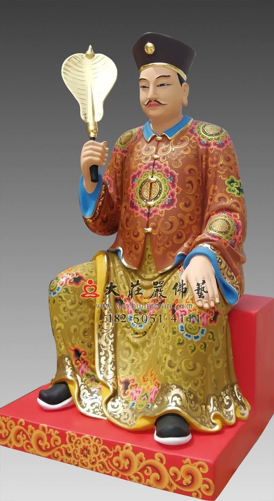 铜雕员外彩绘塑像