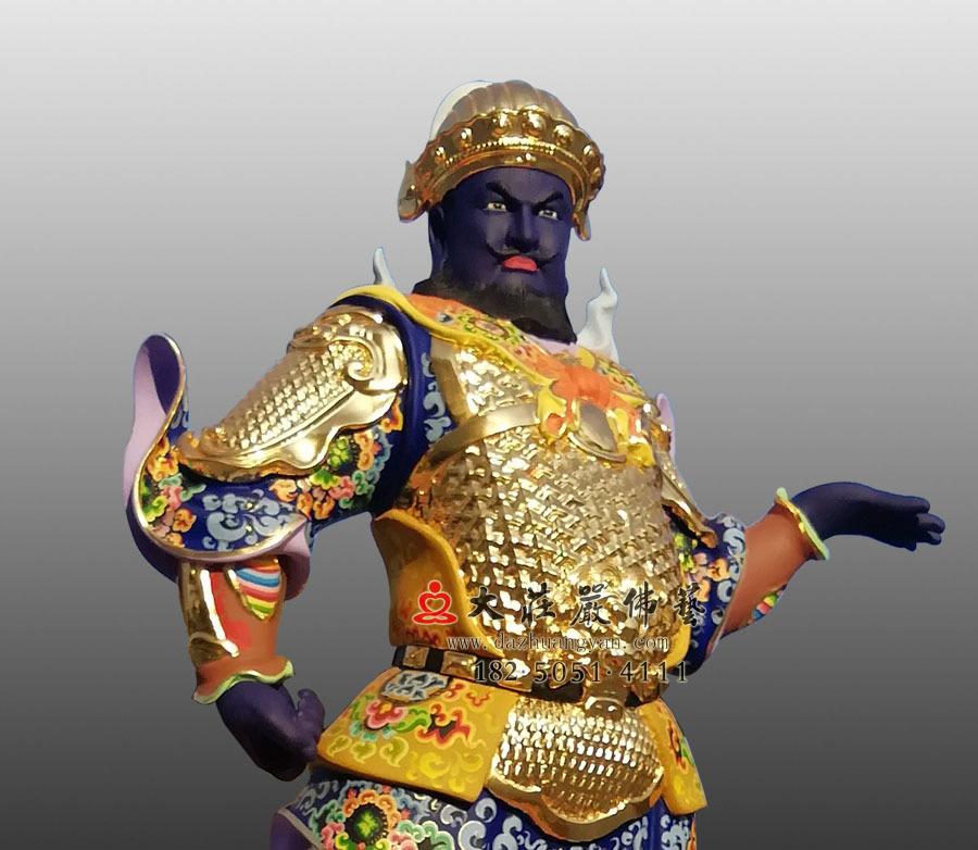甲戌神将展子江侧面近照彩绘塑像