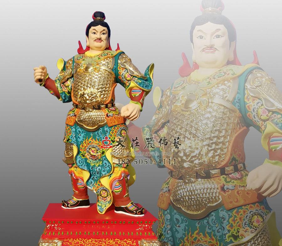 铜雕丁亥神将张文通彩绘神像