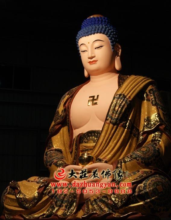 生漆脱胎娑婆三圣之释迦牟尼佛彩绘塑像侧面照