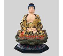 彩绘描金生漆脱胎娑婆三圣之释迦牟尼佛
