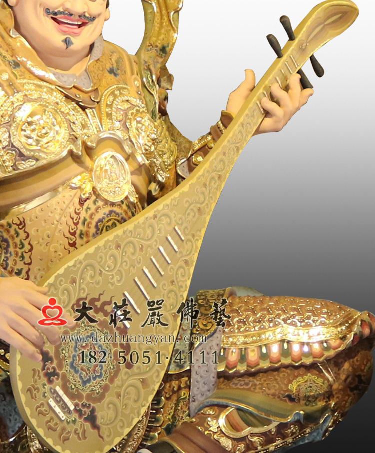 铜雕彩绘持国天王局部塑像