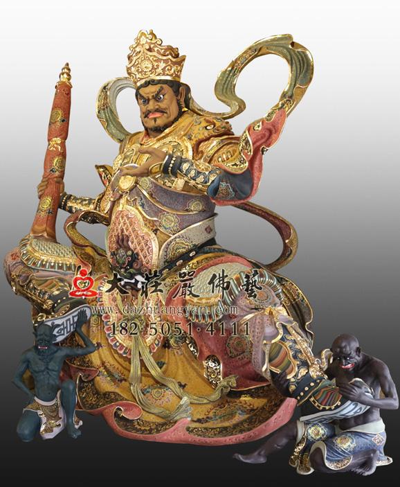铜雕四大天王之多闻天王彩绘塑像