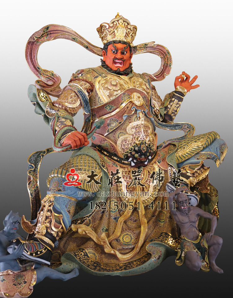 铜雕四大天王之西方广目天王彩绘塑像