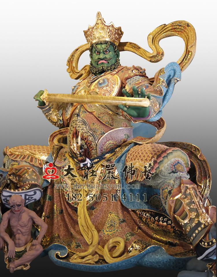 铜雕四大天王之南方增长天王彩绘佛像