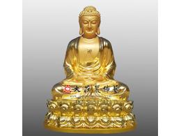 铜雕释迦牟尼佛贴金佛像