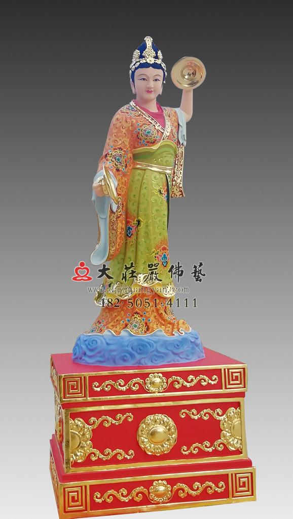 铜雕道教电母彩绘神像