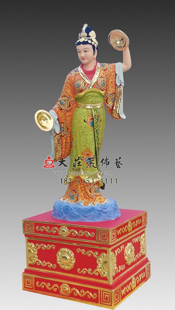 铜雕彩绘电母神像