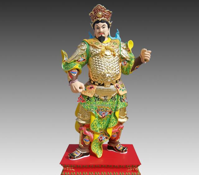 甲午神将韦玉卿彩绘铜雕神像