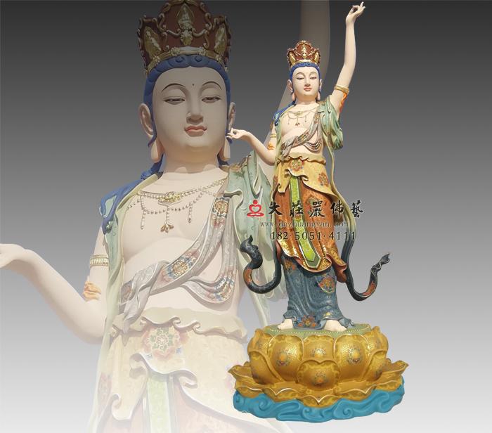 八大菩萨之虚空藏菩萨彩绘铜雕佛像