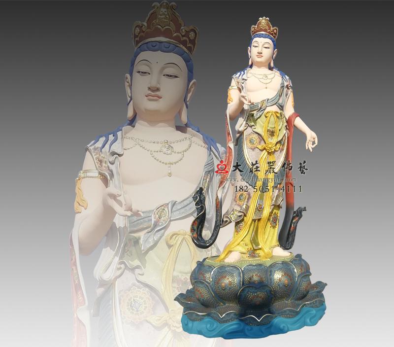 八大菩萨之除盖障菩萨彩绘铜雕佛像