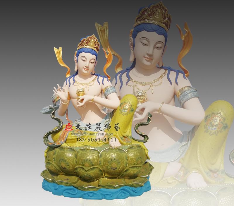 供养菩萨彩绘铜雕佛像