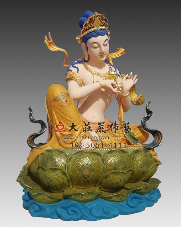 铜雕彩绘供养菩萨