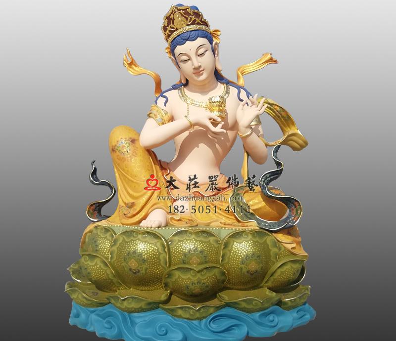 铜雕供养菩萨彩绘佛像