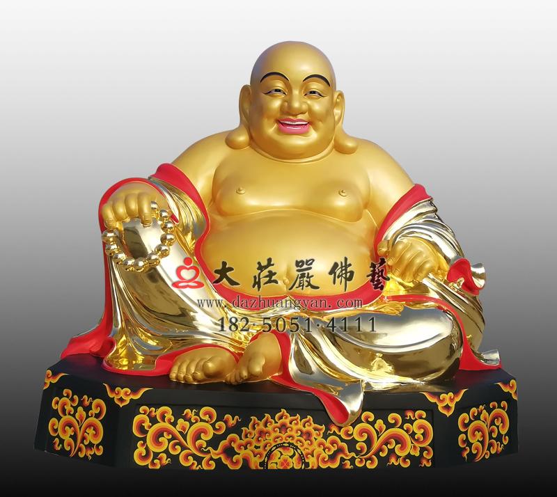 弥勒佛彩绘贴金铜雕佛像