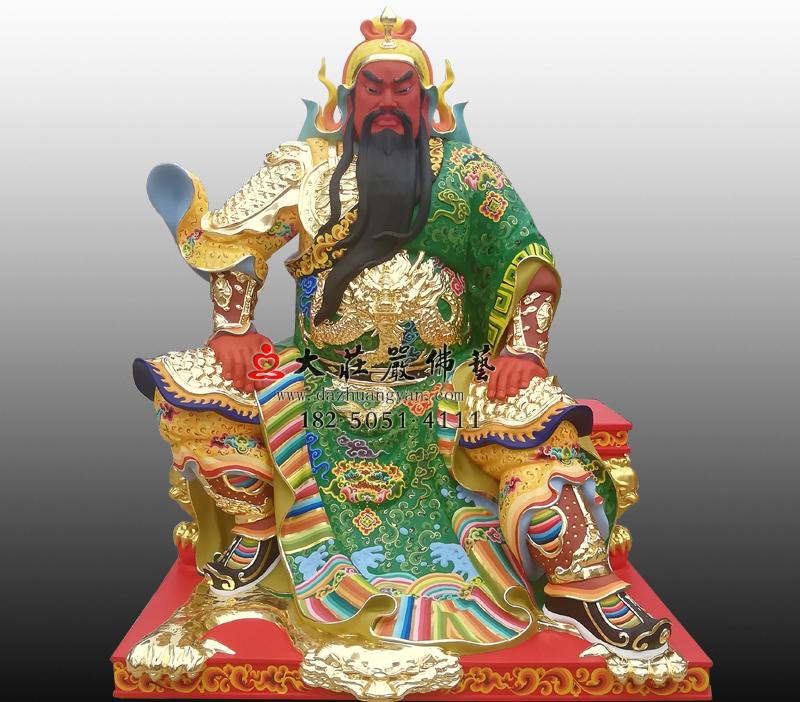 铜雕关公彩绘贴金神像