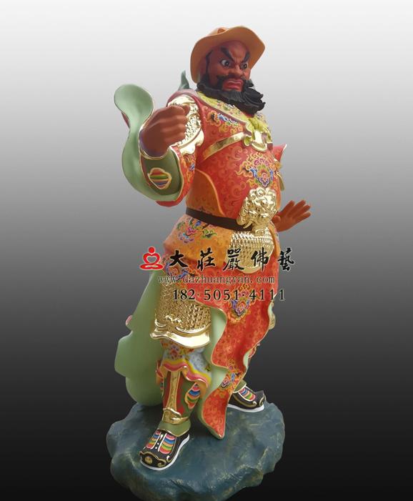 铜雕周仓彩绘侧面塑像
