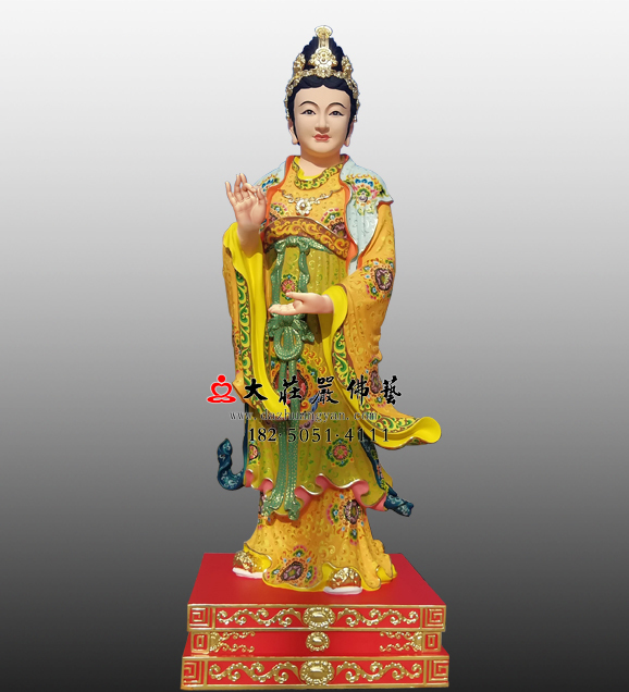 铜雕彩绘娘娘站像