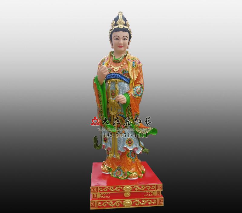 铜雕侍女彩绘塑像