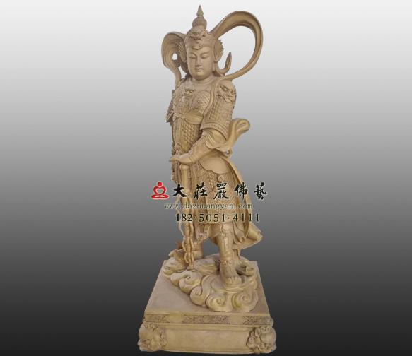 韦驮护法神铜雕贴金佛像
