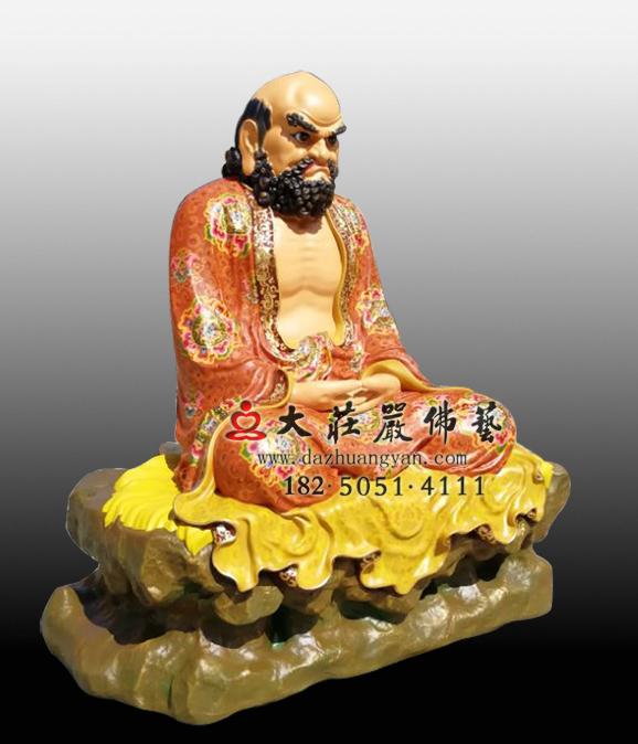 达摩祖师彩绘侧面塑像